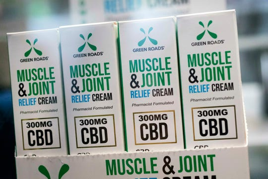 Muscle Joint & Relief Cream is displayed at the Cannabis World Congress & Business Exposition trade show, Thursday, May 30, 2019 in New York. The non-prescription cream is marketed by Green Roads of Deerfield Beach, Flor.