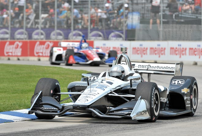 Indianapolis 500 winner Simon Pagenaud makes Turn 1 during the first practice session Friday.