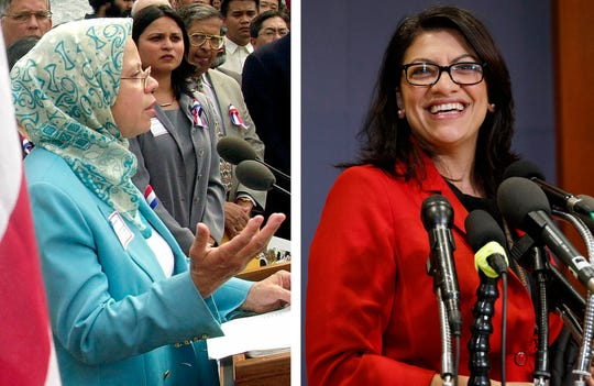 This combination of 2001 and 2018 photos shows Sharifa Alkhateeb, founder and president of the North American Council of Muslim Women, left, and U.S. Rep.-elect Rashida Tlaib, D-Mich.