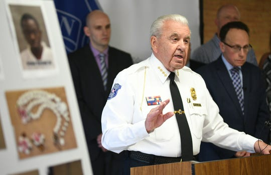 Warren Police Commissioner William Dwyer discusses the arrest of suspects believed to have committed up to 20 home robberies  during a press conference Friday.