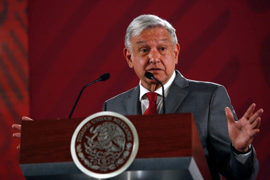 Mexico's President Andrés Manuel López Obrador says Mexico will not respond to U.S. President Donald Trump's threat of coercive tariffs with desperation, but instead push for dialogue, during his daily morning press conference at the National Palace, in Mexico City, Friday, May 31, 2019.