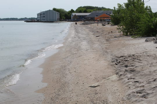 The beach area adjacent to Port Clinton's W. Lakeshore Drive is among areas hit by severe erosion this year, as record high Lake Erie water levels have pounded lakefront beaches.