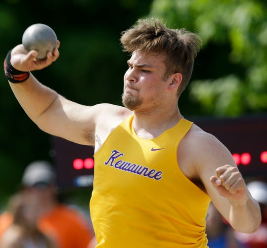 Kewaunee's Tanor Bortolini competes in the Division 2 shot put during the WIAA state track and field meet last week.