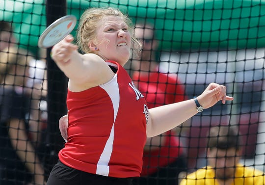 Marathon's Leah Zemke competes in the WIAA Division 3 discus during the state track and field meet Friday at Veterans Memorial Stadium in La Crosse.