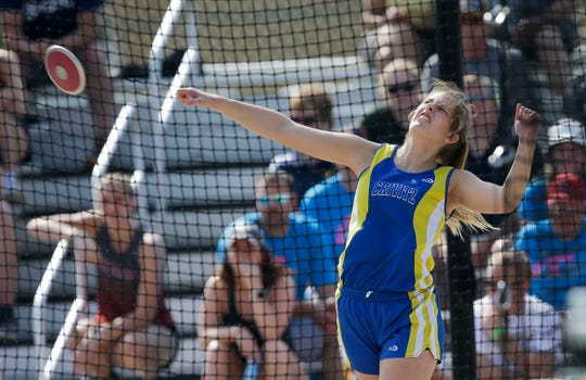 Crivitz High School's Emalee Johnsen competes in the Division 3 discus throw during the WIAA state track and field meet on Friday, May 31, 2019, at Veterans Memorial Stadium in La Crosse, Wis.