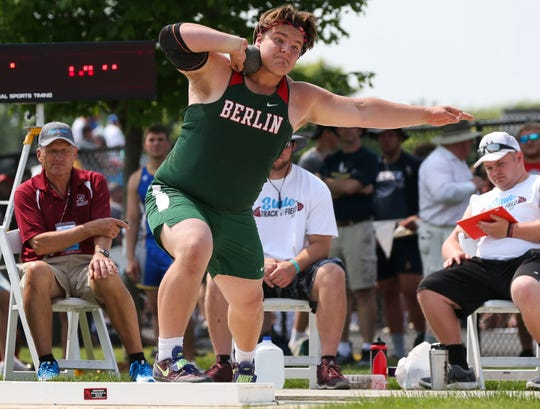 Berlin's Bradon Gulch competes in the Division 2 shot put during the WIAA state track and field meet Friday at Veterans Memorial Stadium in La Crosse.