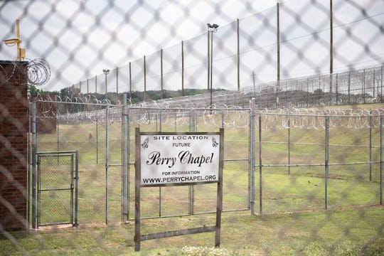 A sign at Perry Correctional Institution designating the future location of the Perry Chapel. Nondenominational chapel services are currently held on Wednesdays and Sundays in the prison's gymnasium. A group of Greenville businessmen have started the Perry Chapel Foundation in an effort to raise $500,000 to construct a free-standing chapel on the grounds of the prison.