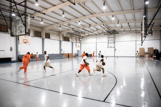 The gymnasium at Perry Correctional Institution where chapel services are currently held on Wednesdays and Sundays. A group of Greenville businessmen have started the Perry Chapel Foundation in an effort to raise $500,000 to construct a free-standing chapel on the grounds of the prison.