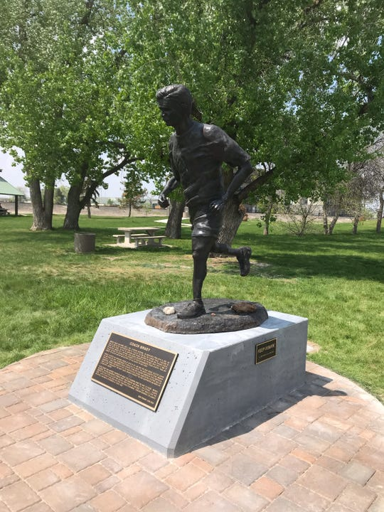 A bronze of Great Falls running legend Branch Brady, the work of former C.M. Russell High athlete Kristian Madsen, was dedicated Saturday at West Bank Park.