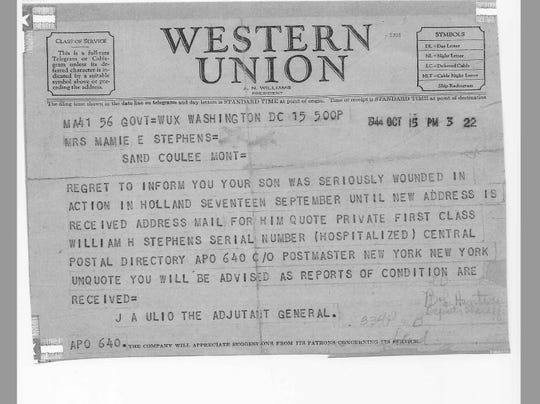 This telegram was sent to Mamie Stephens, the mother of Sand Coulee teenager William H. Stephens, nearly 75 years ago.