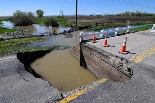A bridge was washed out on Montana Highway 21 earlier this week due to flooding in the area. NWS Great Falls has also issued a Flood Warning for the Sun River Friday.