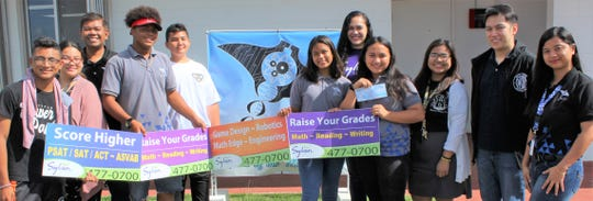 SIFA Learning Academy was presented with a donation from Sylvan Learning Center of Guam for their participation in the 2019 Lip-Dub video contest on May 22. Pictured from left: Nicolas Espinal, Alexis Legaspi, Arvi Bacani, principal, Andrew Hardy-Mclead, Ryan Perez, Melody Cruz, Gabrielle Datuin, Mary Grace Acabado, chief operating officer Charles Deita, and Rochelle Yusi.
