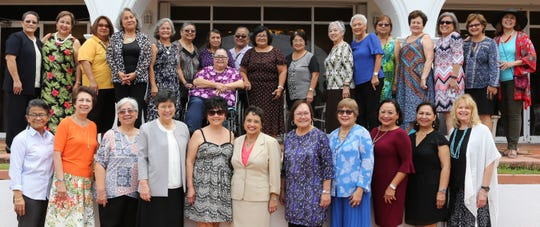 The Academy of Our Lady of Guam Class of 1969 recently culminated their 50th reunion year long celebration with Academy's Class of 2019 at the school's annual senior luncheon hosted by Governor Lourdes Leon Guerrero from the AOLG Class of 1968 and held at Government House.  Pictured are some of the members of the Class of 1969 with AOLG Administrators and the Honorable Lourdes Leon Guerrero, Governor of Guam. Front row from left: Selina Cruz Castro, Lourdes Perez Duenas, Lola Perez Reyes, Sr. Angela Perez '64, RSM (AOLG president), Rose Jean Anderson Mouloughney, Gov. Lourdes Leon Guerrero '68, Mary Terlaje Meeks '69 (AOLG Pprincipal), Rosalind Pereira Borja, Flora Baza Quan, Joyce Charfauros Bamba, and Barbara Blanton Jackson. Back row: Sr. Orlean Pereda, RSM, Frances Eclavea Torres, Bernadita Lujan Duenas, Rosario Edquilane Cahill, Teresita Perez Moore, Elizabeth Mendiola Claros, Lucille Baza Castro, Magdalena Diaz Atoigue, Irene Duenas Camacho, Josephine Perez Catahay, Barbara Lujan Camacho, MaryLou Garcia-Pereda, Maria Tenorio Santos, Arlene Perez Bordallo, Deborah Souder Freitas, Rose Franquez Brown, Bertha Sablan Duenas, and Marilen Diaz Artero. Not shown: Evangeline Perez Cruz, Rosanna Perez Duenas, Bernadita Siongco Quitugua, Marlene Perez Sablan, and Julie Cepeda Smith.