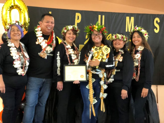 Isabelle G. Santos, Jaguar of the year, Pilot Pre-AP Jaguars at LP Untalan Middle School. Pictured with Santos are her teachers from left: Ms. Kaible (reading), Rodney Pama (social studies/team leader), Pamela DeVera (language arts), Santos, Bernadette Gumataotao (math) and Arlene Castro (science).