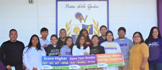 George Washington High School was presented with an additional donation for their participation in the 2019 Lip-Dub video contest by Sylvan Learning Center of Guam on May 22.
