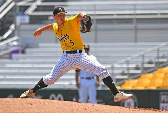 Southern Miss starting pitcher Gabe Shepard (5) throws in the first inning against Arizona State at the NCAA college baseball regional tournament, Friday, May 31, 2019,  in Baton Rouge, La. (Hilary Scheinuk/The Advocate via AP)