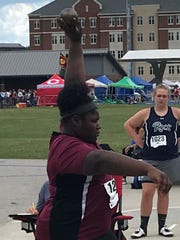 Webster County's Denaleigh Starks won the state championship in shot put in the KHSAA 2-A state track and field championships Friday at the University of Kentucky in Lexington.