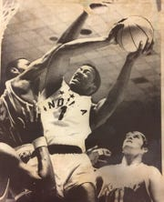 IndyStar Mr. Basketball George McGinnis, shown in the 1969 all-star game against Kentucky, loved Meadowood's smooth court and shade trees.