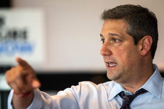 U.S. Rep. Tim Ryan, D-Ohio, speaks during a meet and greet, Friday, May 31, 2019, Big Grove Brewery and Taproom in Iowa City, Iowa.