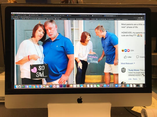 This photo of a computer screen shows a Mississippi photographer's photo shoot of her parents as empty nesters in a Facebook post.