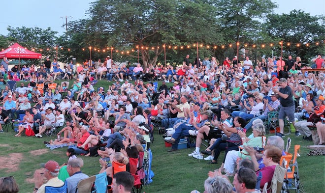 A crowd gathers for a concert during The Amp's summer concert series in 2019.