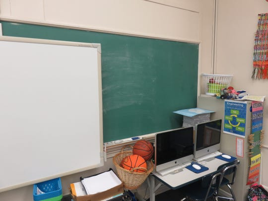 Connie Simpson's second-grade classroom at Sequoyah Elementary features vintage chalkboard, which she proudly has used.