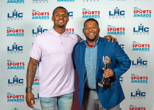 Notre Dame softball coach Dale Serie (right) is pictured with Houston Texans quarterback Deshaun Watson at The Daily Advertiser Sports Awards on May 15 at the Cajundome. Serie was named Coach of the Year.