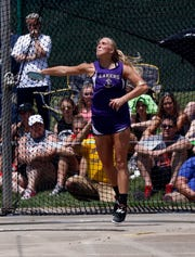 Millersport's Kennedi Ramey throws in the Division III girls discus Friday, May 31, 2019, during the state track and field meet at Jesse Owens Memorial Stadium in Columbus.