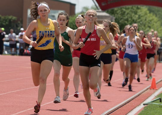 Senior Anna Gregg leads things off for Ontario in the 4x800 relay Friday at the state track meet.