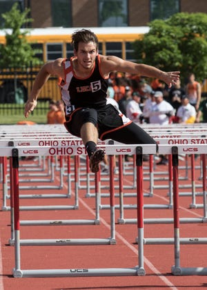 Lucas' Danny Desterhaft runs in the boys 110-meter hurdles during the Division III state semifinals Friday at the Jesse Owens Memorial Stadium in Columbus, Ohio.