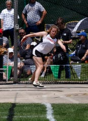 Crestview's Reagan Garrett throws in the Division III girls discus Friday, May 31, 2019, during the state track and field meet at Jesse Owens Memorial Stadium in Columbus.