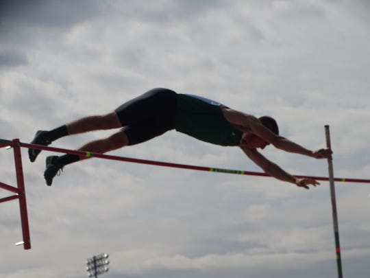 Clear Fork freshman Ethan Staley achieves a personal best by clearing 14-2 in the Division II pole vault for eighth place at the state meet.