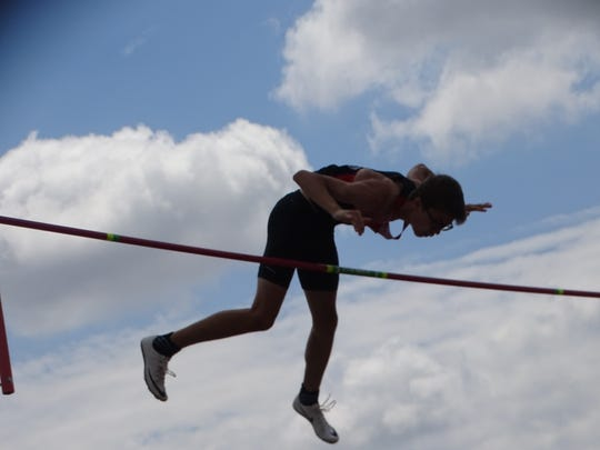 Liberty Union sophomore Jimmy Rhoads competes in the Division II pole vault Friday during the OHSAA state championships at Ohio State's Jesse Owens Memorial Stadium.