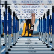 Corbin's Tyler Neal competes in the 110 Meter Hurdles during the KHSAA Class 2A Track and Field State Championships in Lexington, Kentucky. May 30, 2019.