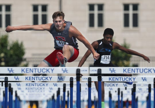 Corbin's Tyler Neal wins his heat in the 110 Meter Hurdles during the KHSAA Class 2A Track and Field State Championships in Lexington, KY on May 30, 2019.