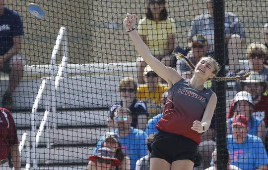 Manitowoc Lutheran's Emily Behnke competes in the Division 3 discus during the WIAA state track and field meet Friday at Veterans Memorial Stadium in La Crosse.