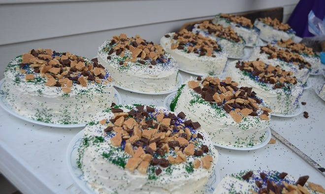 In addition to 75 pies, the cooks prepared 16 s'mores cakes for guests to enjoy at the wedding of Manuel and Elizabeth.