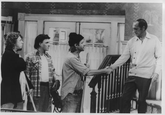 "Elevated from guest stars to regular cast members due to audience demand, William Sanderson (second from right) and Tony Papenfuss and John Voldstad were introduced as backwoods brothers Larry, Daryl and Daryl on a 1982 episode of ""Newhart."""