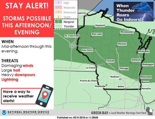 Much of Wisconsin is under a marginal risk for severe thunderstorms Friday afternoon and evening.