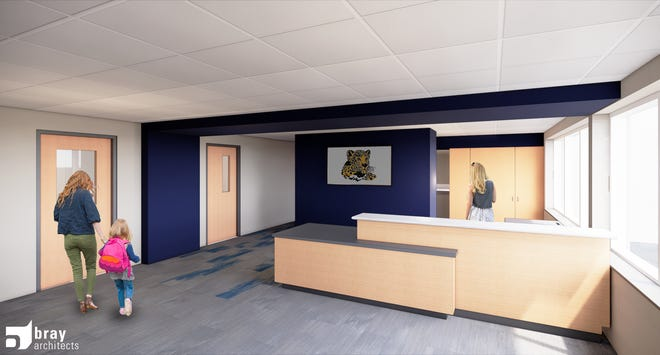 A rendering shows how the updated main office at Lowell Elementary School will look when complete. Work is starting this month on safety and security projects at 11 schools in the Waukesha School District as part of a $60 million referendum that was passed in November.