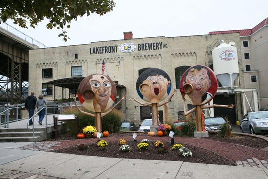 The Three Stooges, painted on the ends of old fermentation tanks, welcome visitors to Lakefront Brewery in Milwaukee.