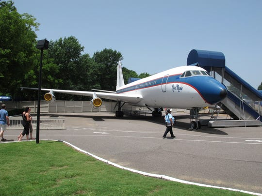 This July 1, 2014, file photo, shows the Lisa Marie, one of two jets once owned by late singer Elvis Presley. It  is used as a tourist exhibit at the Graceland tourist attraction in Memphis, Tennessee.