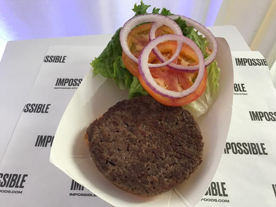 Charcoal Grill & Rotisserie will serve the plant-based Impossible Burger at its location near the Harley-Davidson Roadhouse.