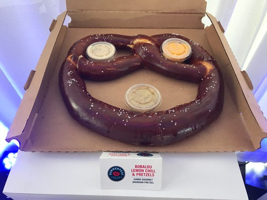 This Jumbo Gourmet Bavarian Pretzel is so giant it's served in a pizza box. It comes with three dipping sauces.