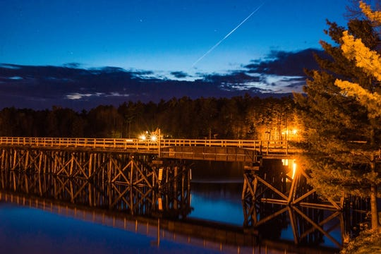 The Bearskin State Trail crosses Lake Minocqua via a trestle bridge.