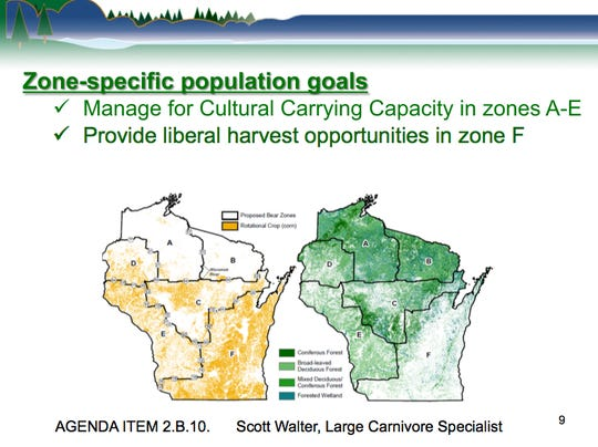The Department of Natural Resources black bear management plan for 2019-29 includes six zones. It's objectives include managing to cultural carrying capacity in zones A to E and limiting bear numbers in Zone F by providing a high number of hunting permits.