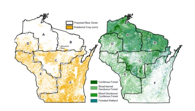 Wisconsin is divided into six management zones under a black bear management plan approved in May by the state Natural Resources Board.