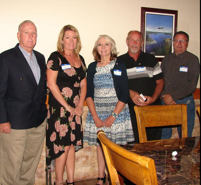 Five new members were recently welcomed into the Benevolent and Protective Order of Elks in a Rite of Initiation Ceremony conducted by Stu Friend, Exalted Ruler and President of the Mountain Home Elks on May 28. Inducted were: (from left) Randy Rowley, Renee Bell, Susan Edwards, William Brennan and David Soulites. The Benevolent and Protective Order of Elks is one of the largest fraternal organizations in the US with over one million members, in some 2,000 lodges including the Mountain Home Lodge, with more than 800 members in Baxter and surrounding counties. The Elks are well known for their support of youth activities and the veterans of the Armed Forces. For information, call (870) 425-0813.