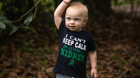Teddy Fletcher, 2, is getting a kidney transplant. He was born in renal failure.