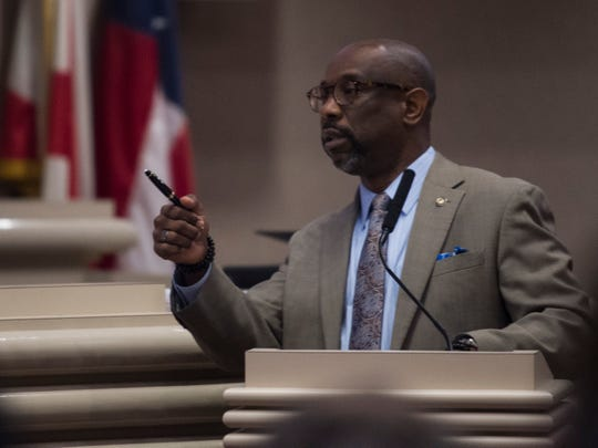 Rep. Kirk Hatcher speaks during the projected final day of the legislatures spring session at the Alabama State House in Montgomery, Ala., on Friday, May 31, 2019.